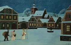 Josef Lada: Mikuláš, anděl a čert / 1944 The Good Soldier Svejk, St Nicholas Day, Naive Art, Christmas Inspiration, Christmas Traditions, Czech Republic, Winter Wonderland, Silhouettes, Illustrators