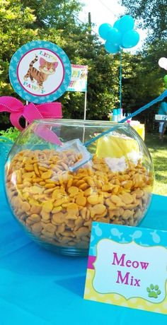 Goldfish meow mix at a Dog and Cat birthday party!  See more party ideas at CatchMyParty.com!