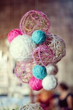 more uses for yarn - can be used as any kind of party decoration