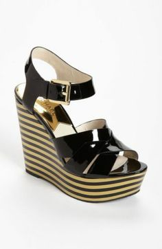 02c01bc65c41a3 Michael Kors Adalia Black Gold Stripe Platform Sandal 7.5 Leather Wedge New