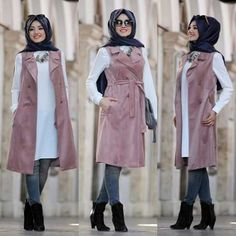 Hijab fashion wear recently became so chic and trendy; Muslim Women Fashion, Modern Hijab Fashion, Islamic Fashion, Abaya Fashion, Fashion Wear, Fashion Outfits, Hijab Style Dress, Casual Hijab Outfit, Hijab Chic