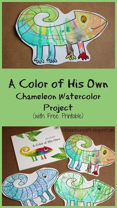A fun craft to pair with this classic kids book A Color of His Own! A sweet Chameleon Watercolor Project for kids! The post A fun craft to pair with this classic kids book A Color of His Own! A sweet Cham appeared first on Children's Room. Preschool Colors, Preschool Activities, Reptiles Preschool, Preschool Supplies, Animal Activities For Kids, Therapy Activities, Classe D'art, Watercolor Projects, Watercolor Pencils