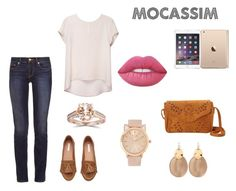 """Mocassim caramelo"" by willi-pinheiro on Polyvore featuring moda, Tory Burch, Alexis Bittar, Bliss Diamond e Lime Crime"