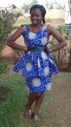Blue chitenge  peplum dress