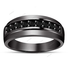 Round Cut 2.5MM Black Sim Diamond 14k B/Gold Finish 925 Silver Men's Band Ring #aonedesigns #MensBand