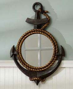 anchor mirror. omg i really want this for our bathroom!! our theme is seashells & now anchors!!!