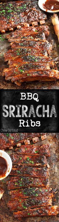 BBQ Sriracha Ribs -- SO flavorful - savory, sweet, zesty, amazing! Fall-off-the-bone tender. You'll never look back. Rib Recipes, Grilling Recipes, Cooking Recipes, Cake Recipes, Smoker Recipes, Barbecue Recipes, Recipes Dinner, Chicken Recipes, Slow Cooking