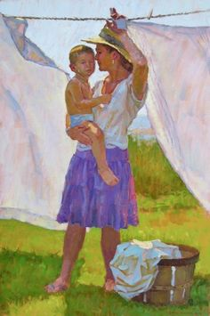 """The Morning Wash by David Tanner Oil ~ 30"""" x 20""""... love this"""