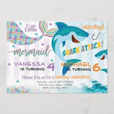 Mermaid Shark Birthday Party Invitation Siblings - tap/click to get yours right now! #mermaid, #shark, #birthday, #party, #invitation, Combined Birthday Parties, Sibling Birthday Parties, Joint Birthday Parties, Birthday Party Themes, Birthday Ideas, 5th Birthday, Aries Birthday, Kylie Birthday, Turtle Birthday