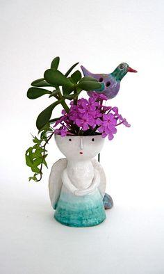 Ceramic vase Angel / stoneware vase / hand made by TatianasPottery, $58.00