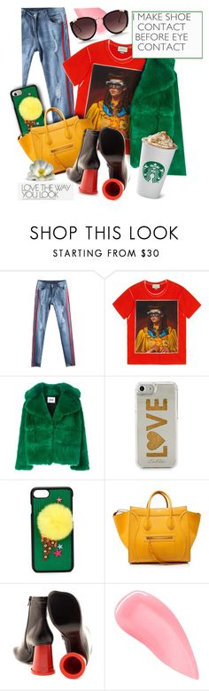 """""""Love the way you Look"""" by angiesprad ❤ liked on Polyvore featuring Gucci, MSGM, Edie Parker, Dolce&Gabbana, CÉLINE, MM6 Maison Margiela, Kevyn Aucoin and Rebecca Taylor"""