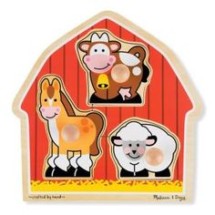 Melissa &Amp Doug Barnyard Animals Jumbo Knob Wooden Puzzle - Horse, Cow, And Sheep Wooden Puzzles, Jigsaw Puzzles, Wooden Pegs, Barnyard Animals, Farm Toys, Shape Coding, Melissa & Doug, Farm Theme, Colorful Artwork