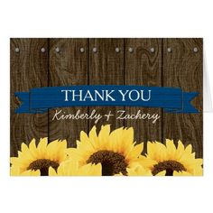 COBALT BLU RUSTIC SUNFLOWER WEDDING THANK YOU CARD