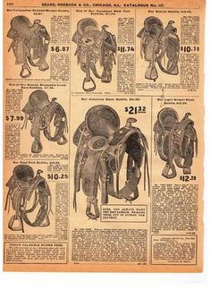 A page taken from a 1#906 #Sears #Roebuck #catalog #Saddles #Western #Horseback #Riding #Gear #Cowboys #History #Texas #USA