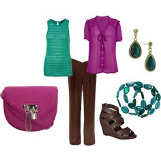 """""""cool summer - teal, purple, charcoal brown"""" by expressingyourtruth on Polyvore"""