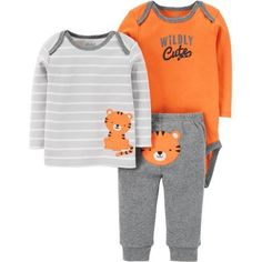 Child of Mine by Carter's Newborn Baby Boy Long Sleeve Shirt, Bodysuit, and Pant Outfit Set, Size: 0 - 3 Months, Orange