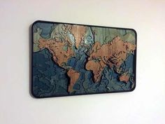 Laser cut topographical world map - Imgur