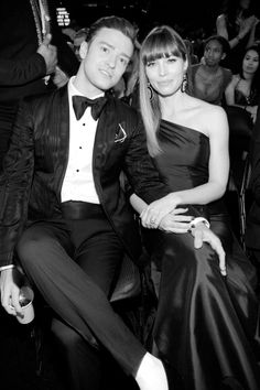 #JessicaBiel and #JustinTimberlake at 55th #Grammy awards ceremony 2013 -- #BowTie