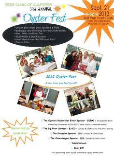 Oyster Feast to benefit the FREE Clinic, on Sept. 21!