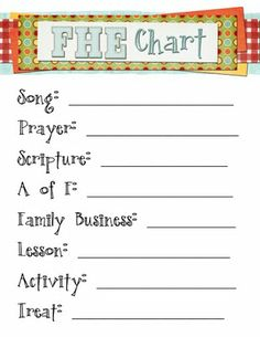 Free FHE chart printable. Stick it in a picture frame then use a dry erase marker on the glass to write in names each week.