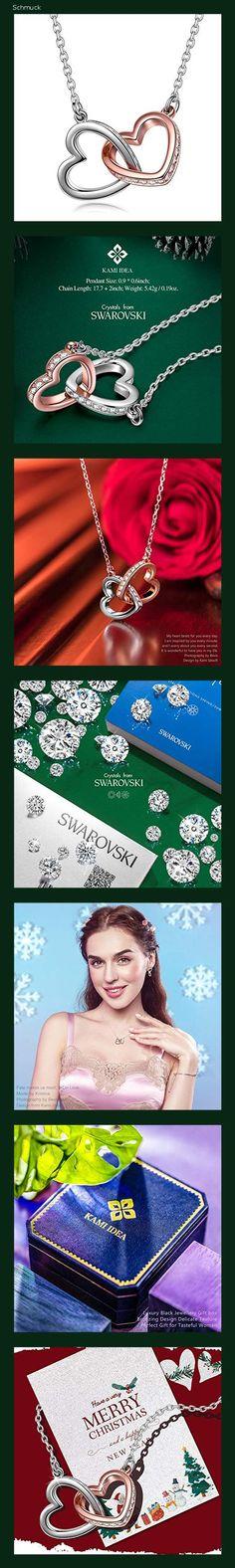 Kami Idea Halskette Damen - Mein Schicksal - Herz zu Herz Anhänger, Kristalle von Swarovski, Rosegold Damen Modeschmuck, Geschenkverpakung - 14hc