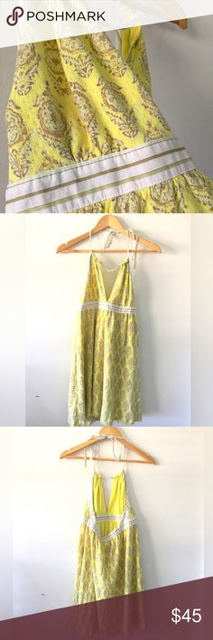 🌻Hello Sunshine Super cute halter sundress in like new condition.  Had to grab this one in a larger size cause sometimes the Free People pieces run so tiny🙄Worn twice. Free People Dresses