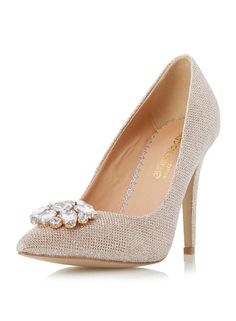 40d30405487182   Head Over Heels Bellaa Pointed Trim Court Shoes - Dorothy Perkins Gold  Court Shoes