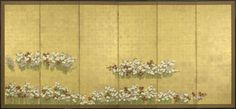 A six-fold paper screen painted in ink and colour on a gold ground with nadeshiko (pinks). Unknown (19th century Edo/Meji period)