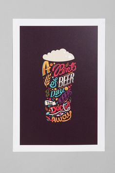Katboy 7 For Society6 A Pint A Day Keeps The Doctor Away Art Print  #UrbanOutfitters