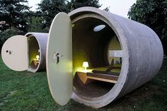 A serious contender for the world's strangest hotel, in more ways than one, the Das Park Hotel in Ottensheim is constructed from concrete drainage pipes.  Operating on a unique pay as you wish basis i.e. pay as much as you can afford, or want to pay, the hotel's facilities such as toilets, showers, cafe etc are all supplied by the surrounding public park in which it resides.