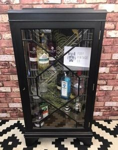 DISCOUNT $378.66 Vintage Black Art Deco style drinks display cabinet coal black fusion paint, #Vintage_Wood_Furniture #Antique_Furniture_for_Sale Vintage Furniture For Sale, Rustic Wood Furniture, Black Art, Drink Display, Old Wood, Liquor Cabinet, Antiques, Style Vintage, Drinks