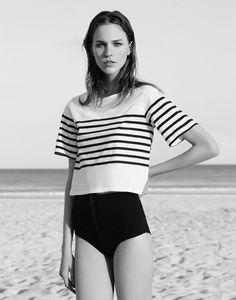 stripes + girl + beach = perfect