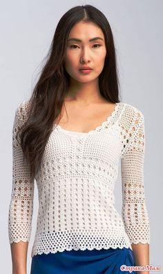 jersey a crochet Pull Crochet, Love Crochet, Filet Crochet, Beautiful Crochet, Knit Crochet, Crochet Tops, Crochet Jacket, Crochet Cardigan, Crochet Skirts