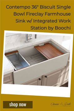 Explore farmhouse kitchen sinks and decor at www.annieandoak.com. Shop for 36 inch Single Bowl w/ Integrated Work Station Biscuit Fireclay Farmhouse Sink by Bocchi now. Fireclay, a 100% natural organic and recyclable material used by craftsman for centuries to create timeless appliances have now returned to your kitchen. This farm sink is extremely resistant to chip, discoloration, scratching, and cracking. Visit us at www.annieandoak.com for more kitchen sinks and tools. Fireclay Farmhouse Sink, Farmhouse Sink Kitchen, Farm Sink, Kitchen Sinks, Shabby Chic Kitchen, Biscuit Color, Farmhouse Aprons, Design Your Kitchen