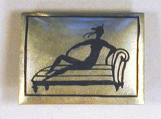 * Wiener Werkstatte Silver Silhouette Pin Attributed to Eduard Wimmer, circa 1920 Rectangular, with black silhouette of nude on couc