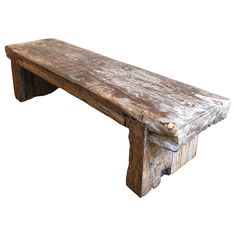 For Sale on - Very solid and heavy piece. Thick reclaimed wood log (possibly teak) turned into Primitive style modern bench. Gorgeous veins with a petrified wood look. Rustic Wood Bench, Reclaimed Wood Benches, Old Barn Wood, Wood Logs, Wood Slab, Teak Wood, Rustic Furniture, Old Benches, Old Wood Table