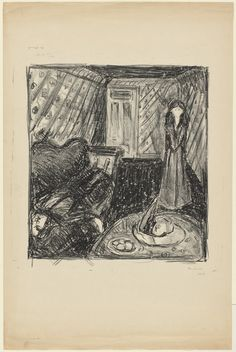 "Edvard Munch. Murder (Mord). c. 1928; signed 1930. Lithograph. composition: 17 1/4 x 15 3/8"" (43.8 x 39.1cm); sheet: 29 11/16 x 19 1/2"" (75.4 x 49.5cm). The William B. Jaffe and Evelyn A.J. Hall Collection. 296.1969. © 2016 The Munch Museum / The Munch-Ellingsen Group / Artists Rights Society (ARS), New York. Drawings and Prints MoMa nyc"