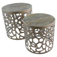 "Set of 2 openwork metal side tables with distressed tops.  Product: Small and large side tableConstruction Material: Metal and mirrored glassColor: ChampagneDimensions: 19.5"" H x 19"" Diameter (large)"