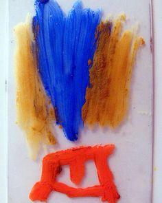 Size does(n't) really matter 202 Monotype matrix   6 x 9 cm   Oil pastel on polypropylene