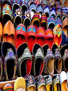 Title  Colorful Footwear Juttis For Sale Jaipur Rajasthan India   Artist  Sue Jacobi   Medium  Photograph - Fine Art #Photography #India #juttis #shoes ... So colorful!!