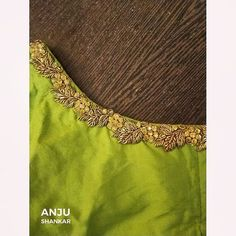 For bridal blouses contact - 91 99521 84728 Blouse Designs High Neck, Fancy Blouse Designs, Wedding Saree Blouse Designs, Pattu Saree Blouse Designs, Simple Embroidery, Embroidery Blouses, Embroidery Fabric, Hand Work Blouse, Maggam Work Designs