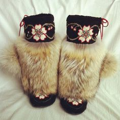 Luxurious Custom Mukluks with Coyote Fur Moccasin Boots, Fur Boots, Shoe Boots, Beaded Moccasins, Native Style, Native Art, Native Design, Native Beadwork, Leather Projects
