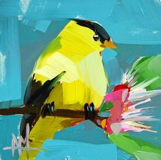 """Daily Paintworks - """"Goldfinch no. 30 Painting"""" - Original Fine Art for Sale - © Angela Moulton"""