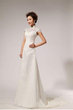 Chinese Wedding Gown Mandarin Collar Bridal Illusion Exquisite Dress ...