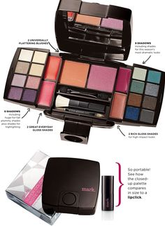 Avon: mark Super Color Box Total Face Palette #makekup #cosmetics #giftideas 16 Eye shadow; 4 lip glosses; 2 blushes; built-in mirror; 1 dual-end sponge applicator; 1 mini brush applicator; & 1 dual-end brush.