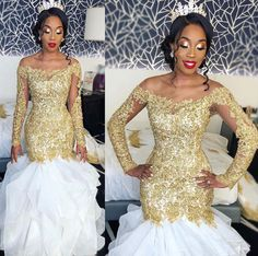 Tight Prom Dresses, Amazing White And Gold Appliques Long Sleeves Off Shoulder Ruffles Long Mermaid Prom Dresses 2020 Yonkers Bridal Arabic Wedding Dresses, Sexy Wedding Dresses, Wedding Dresses Plus Size, Bridal Dresses, Nigerian Wedding Dress, Modest Wedding, Tight Prom Dresses, Prom Dresses Long With Sleeves, Mermaid Prom Dresses