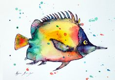 Tropical Fish watercolor Painting 57 Original by TinytotAtelier
