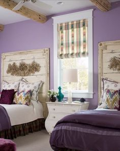 Rustic style shared roomSo rich and beautiful! Credit to Design House, Inc.... - Home Decor For Kids And Interior Design Ideas for Children, Toddler Room Ideas For Boys And Girls