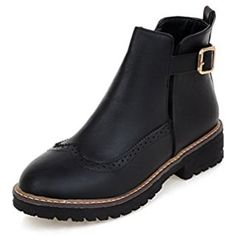 Women's Low-Heels Solid Round Closed Toe Soft Material Buckle Boots -- Check out the image by visiting the link. (This is an affiliate link) #MidCalf