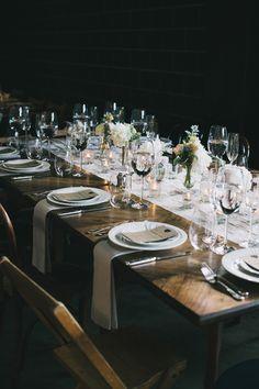 industrial tablescape - photo by The Hearts Haven http://ruffledblog.com/pastel-glam-wedding-at-las-smogshoppe #tablescapes #weddingideas #receptions